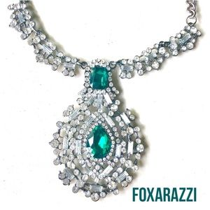New! Emerald & Diamond Crystal Necklace